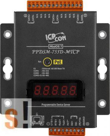PPDSM-755D-MTCP # Soros/Ethernet/Konverter/Modbus/Átjáró/Programozható/4x RS-485/1x RS-232 port/Ethernet 10/100/fém ház/LED, ICPDAS