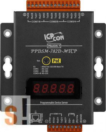 PPDSM-782D-MTCP # Soros/PoE Ethernet/Konverter/Modbus/Átjáró/Programozható/1x RS-485/7x RS-232 port/Ethernet 10/100/fém ház/LED, ICPDAS