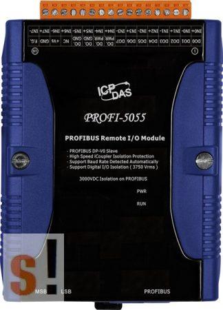 PROFI-5055 CR # PROFIBUS I/O Modul/DP-V0/Slave/8DI/8DO/szigetelt, ICP DAS