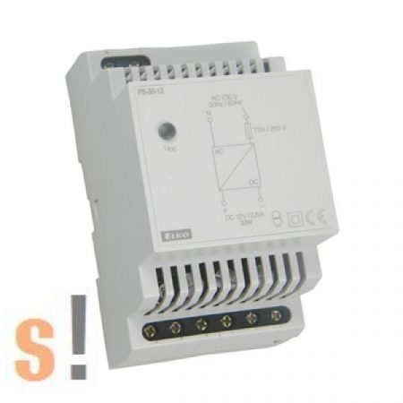 PS-30-24 # Stabilizált tápegység/DIN sínre/24VDC/1,25A/30W, ELKO EP