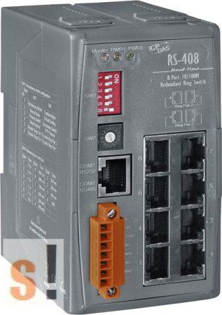 RS-408 CR # 8 portos redundáns Ring switch szigetelt tápfeszültség bemenettel +10 VDC ~ +30 VDC (RoHS), ICP DAS