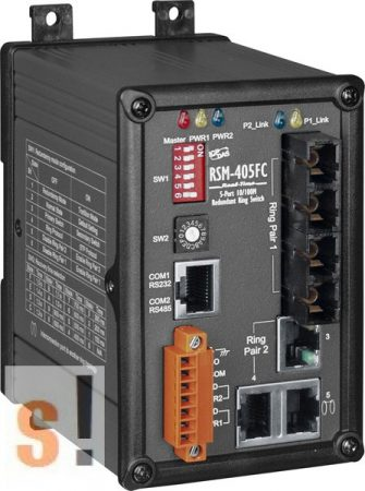 RSM-405FC # Switch/Ethernet/Redundáns/5 port/2 Fiber/Multi/SC, fémház, ICP DAS
