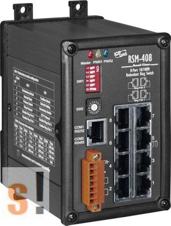 RSM-408 CR # 8 portos redundáns Ring switch szigetelt tápfeszültség bemenettel +10 VDC ~ +30 VDC, fémház, ICP DAS