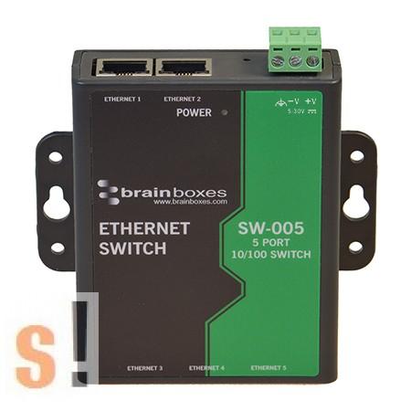 SW-005 # Ethernet switch/ 5 port/ 10/100 Mbps/ +5~+30 Vdc tápfeszültség/ ipari/DIN sínre vagy szerelőlapra rögzíthető