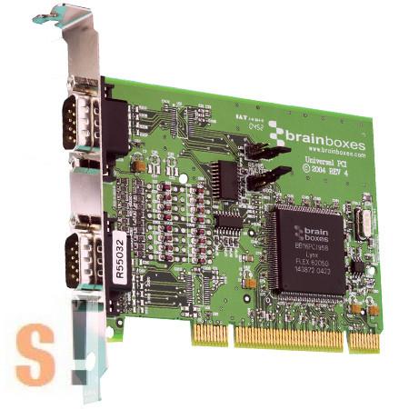 UC-313 # uPCI soros kártya (Universal PCI) RS-422/485 kártya/ 2x RS422/485 port/1 MBaud/DB9 csatlakozó/Brainboxes