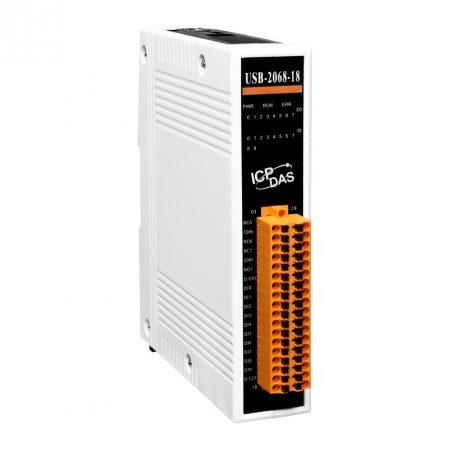 USB-2068-18 # USB I/O Modul/10x DI/Szigetelt/8x relé kimenet, ICP DAS, ICP CON