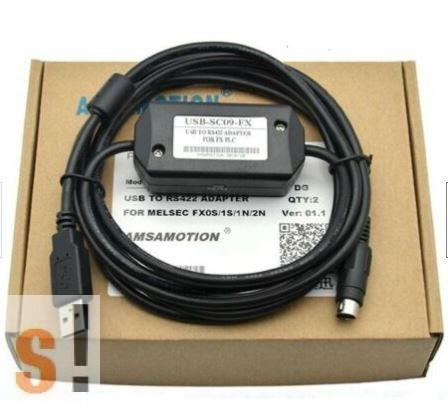 USB-SC09-FX # USB Mitshubishi programozó kábel, FX sorozathoz, 2,5 méter, fekete szín