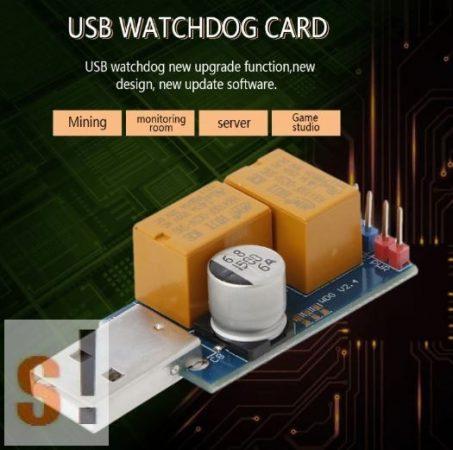 USB-Watchdog # USB Watchdog modul/PC újraindítás/10-1270 másodperc timeout/1-99 nap restart/Dupla relé