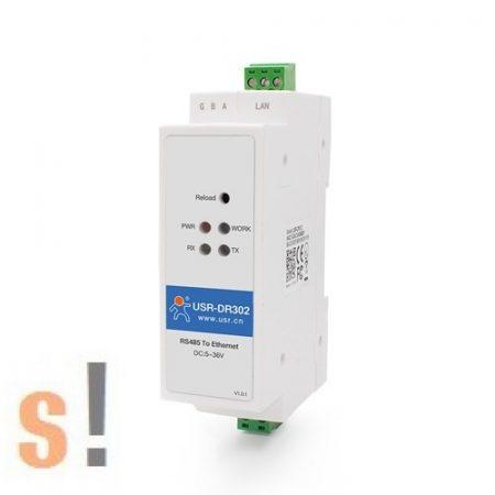 USR-DR302 # Soros - Ethernet konverter/RS-485 port/Modbus TCP/Modbus RTU átjáró/10/100 Mbps Ethernet/Ipari/DHCP/DNS/USR IOT