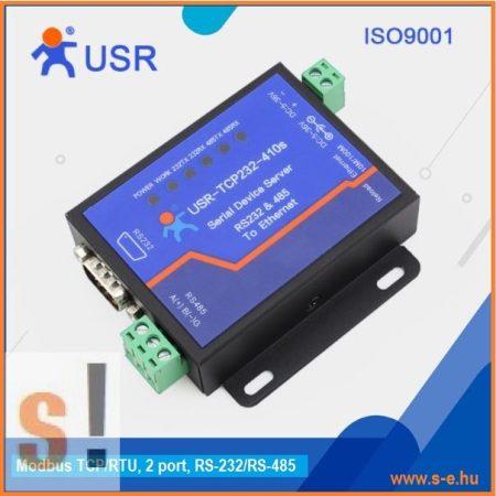 USR-TCP232-410S # 2 portos Soros - Ethernet konverter/Modbus TCP - RTU átjáró/Gateway/1x RS-232/1x RS-485 port/10/100 Mbps Ethernet/Ipari, USR IOT