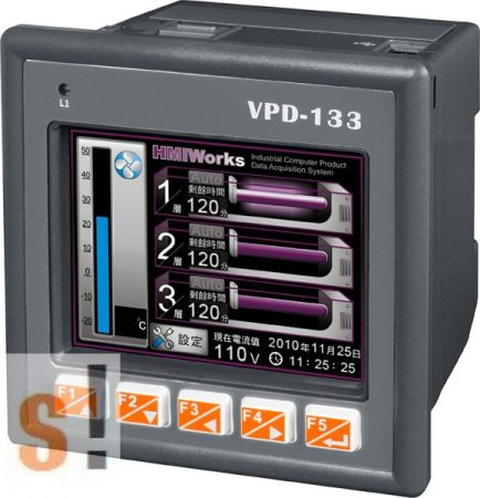 "VPD-133 CR # 3.5"" TouchPAD/1x RS-232/485/1x RS-485/USB/PoE Ethernet/RTC/PLC/Nyomógombok/XV-board hely, ICP DAS"