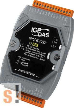 WISE-7117 # POE Controller/Modbus TCP/PoE Ethernet/8x AI/túlfeszültség védelemmel/4x DO/szigetelt, ICP DAS