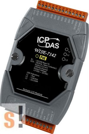 WISE-7142 # POE Controller/Modbus TCP/PoE Ethernet/16x DO/szigetelt, ICP DAS