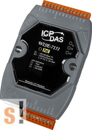 WISE-7151 # POE Controller/Modbus TCP/PoE Ethernet/16x DI/szigetelt, ICP DAS