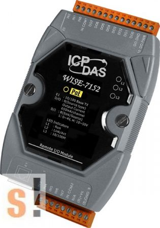 WISE-7152 # POE Controller/Modbus TCP/PoE Ethernet/8x DI/szigetelt/8x DO/szigetelt, ICP DAS