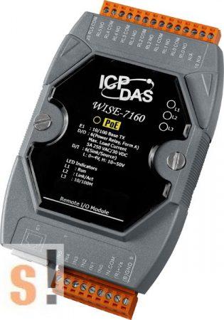 WISE-7160 # POE Controller/Modbus TCP/PoE Ethernet/6x DI/szigetelt/6x RO relé kimenet, ICP DAS