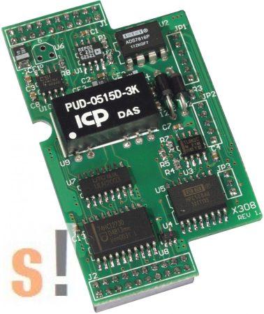 X308 # I/O bővítő kártya/4x AI/0~+10V/6x DO, ICP DAS