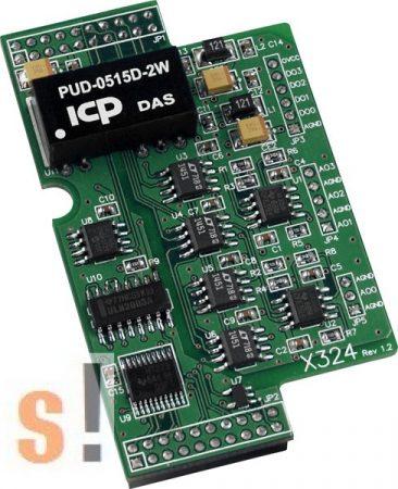 X324 # I/O bővítő kártya/4x AO/4x DO, ICP DAS