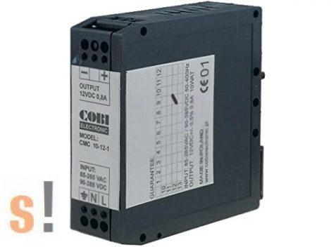 ZICMC-10-12-1 # Stabilizált tápegység/12V DC/0,8A/10 W/DIN sínre, Cobi Electronic