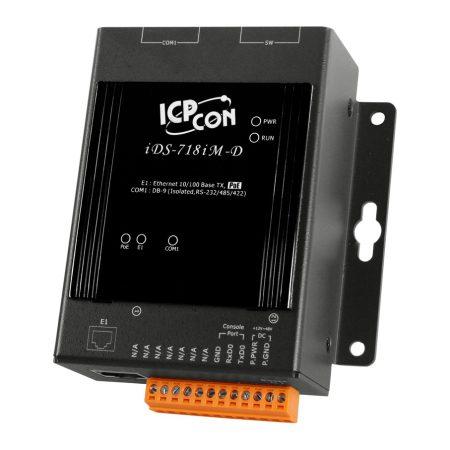 iDS-718iM-D  # intelligens soros-ethernet szerver, 1x szigetelt RS-232/422/485 port, fémház, ICP DAS