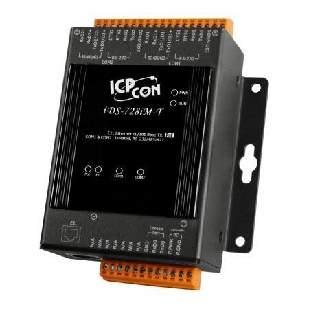iDS-728iM-T  # intelligens soros-ethernet szerver, 2x szigetelt RS-232/422/485 port, fémház,  ICP DAS