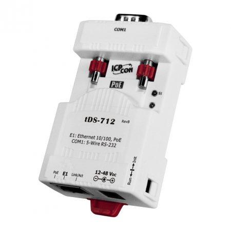 tDS-712 # Soros-Ethernet konverter, 1x RS-232 port, PoE, ICP DAS