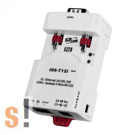 tDS-712i # Soros-Ethernet konverter/Szigetelt/ 1x RS-232 port, PoE, ICP DAS
