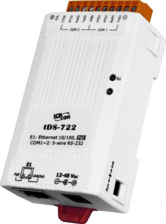 tDS-722 # Soros-Ethernet konverter, 2x RS-232 port, PoE, ICP DAS