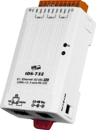 tDS-732i # Soros-Ethernet konverter, 2500VDC szigetelt , 3x RS-232 port, PoE, ICP DAS
