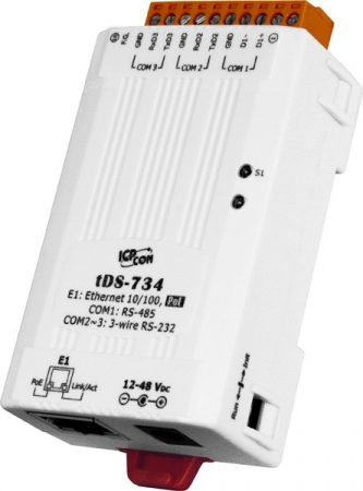 tDS-734 # Soros-Ethernet konverter, 2x RS-232 és 1x 485 port, PoE, ICP DAS