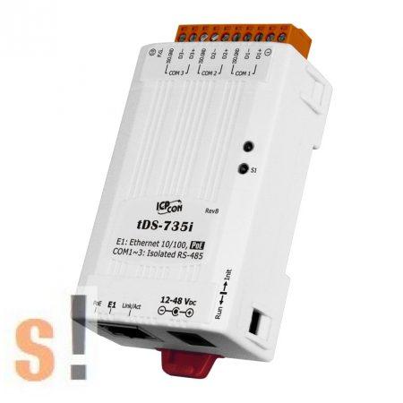 tDS-735i # Soros-Ethernet konverter/Szigetelt/3x RS-485 port, PoE, ICP DAS
