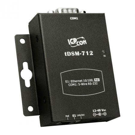 tDSM-712 # Soros-Ethernet konverter, 1x RS-232 port, PoE, fémház, ICP DAS