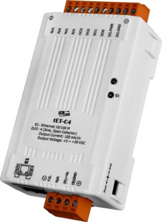 tET-C4 # Ethernet I/O Module/tiny/Modbus TCP/4DO/NPN/Sink, ICP DAS