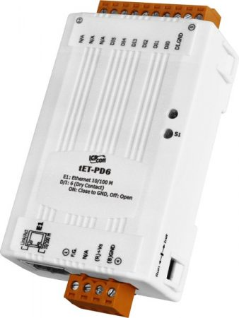 tET-PD6 # Ethernet I/O Module/tiny/Modbus TCP/6 DI, ICP DAS