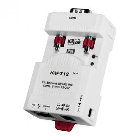 tGW-712 # Soros Modbus RTU/TCP Ethernet átjáró, 1x RS-232, PoE, ICP DAS