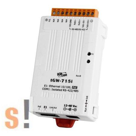 tGW-715i # Soros Modbus RTU/TCP Ethernet átjáró/ 1x RS-422/485 port/ PoE/ 2500Vdc szigetelt, ICP DAS