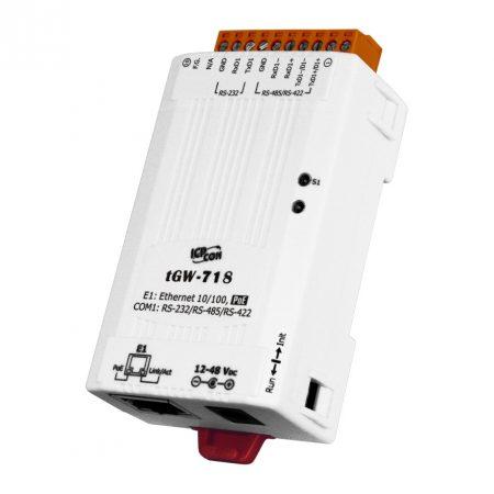 tGW-718 # Soros Modbus RTU/TCP Ethernet átjáró, 1x RS-232/422/485, PoE, ICP DAS
