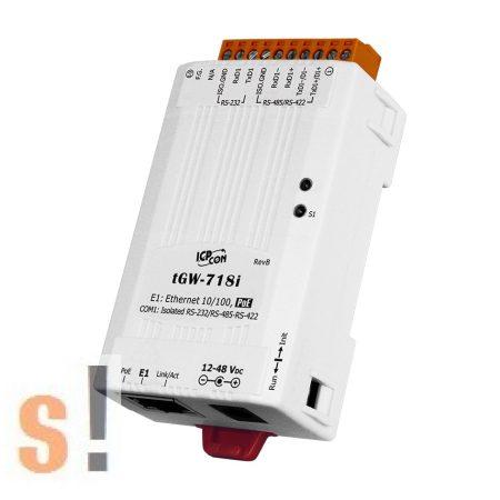 tGW-718i # Soros Modbus RTU/TCP Ethernet átjáró/ 1x RS-232/422/485 port/ PoE/ 2500 Vdc szigetelt,  ICP DAS