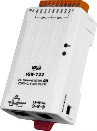 tGW-722 # Soros Modbus RTU/TCP Ethernet átjáró, 2x RS-232, PoE, ICP DAS