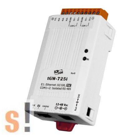 tGW-725i # Soros Modbus RTU/TCP Ethernet átjáró/ 2x RS-485 port/ PoE/ 2500 Vdc szigetelt, ICP DAS