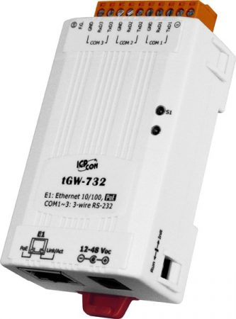 tGW-732 # Soros Modbus RTU/TCP Ethernet átjáró, 3x RS-232, PoE, ICP DAS