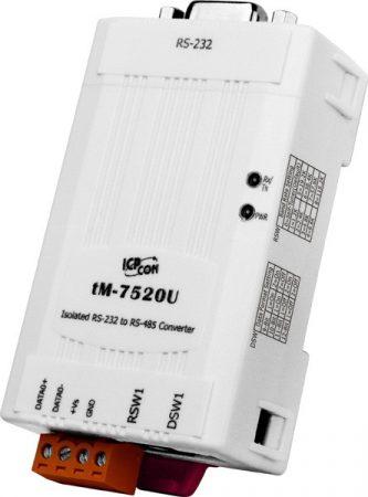 tM-7520U-CA #  Tiny/Konverter/RS-232 - RS-485/2500Vdc szigetelt/kis méret/DIN sínre/ICP DAS/CA-0915 kábellel, ICP DAS