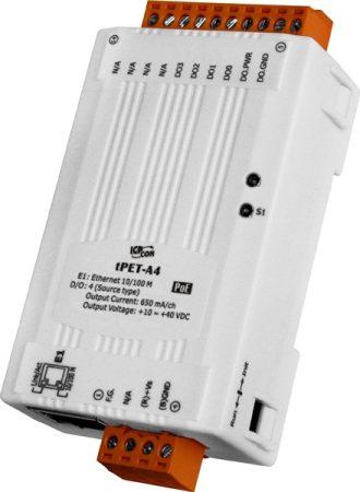 tPET-A4 # PoE Ethernet I/O Module/tiny/Modbus TCP/4DO/PNP/Source, ICP DAS