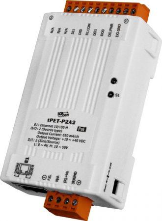 tPET-P2A2 # PoE Ethernet I/O Module/tiny/Modbus TCP/2DI/2DO/PNP, ICP DAS