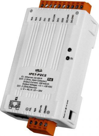 tPET-P2C2 # PoE Ethernet I/O Module/tiny/Modbus TCP/2DI/2DO/NPN, ICP DAS