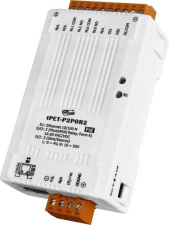 tPET-P2POR2 # PoE Ethernet I/O Module/tiny/Modbus TCP/2DI/2 PhotoMos, ICP DAS