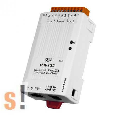 tSH-735 # Soros port szétosztó/Serial Port Sharer/PoE/3x RS-485 port, ICP DAS