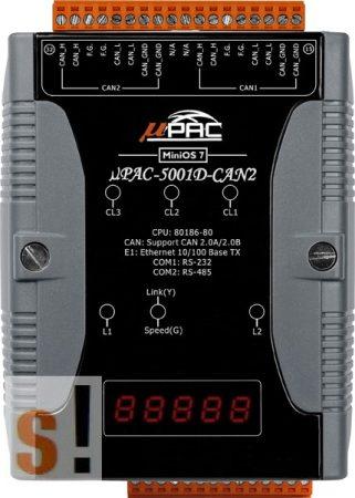 µPAC-5001D-CAN2 CR # Kontroller/MiniOS7/C nyelv/LED/2x CAN port, ICP DAS