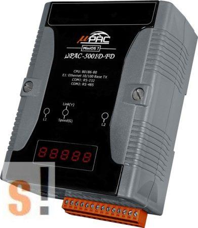 μPAC-5001D-FD # uPAC-5001D-FD/Kontroller/MiniOS7/C nyelv/Flash/Ethernet  port/RS-232 port/RS-485 port, ICP DAS, ICP CON, ICP DAS HUNGARY