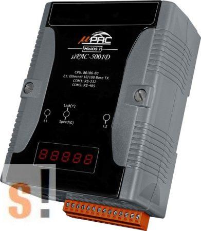 μPAC-5001D # uPAC-5001D/Controller/MiniOS7/C nyelv//Ethernet  port/RS-232 port/RS-485 port/LED, ICP DAS, ICP CON, ICP DAS HUNGARY